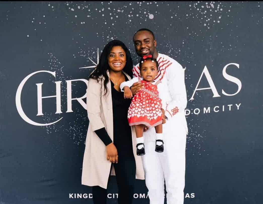 Family poses for photo, Felix Tabenda